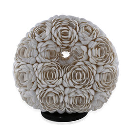 Bali Collection - Handcrafted Seashell ES Battery Table Lamp with Rose Motif (Size 20 Cm)