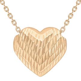 9K Rose Gold Diamond Cut Sliding Heart Pendant with Chain (Size 17)