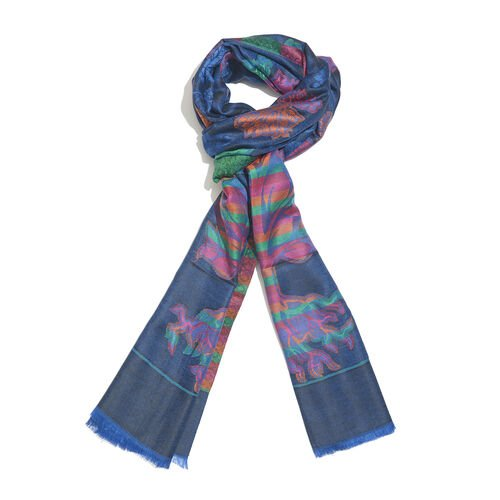 Blue, Pink and Multi Colour Tree Pattern Jacquard Scarf with Fringes (Size 190X70 Cm)