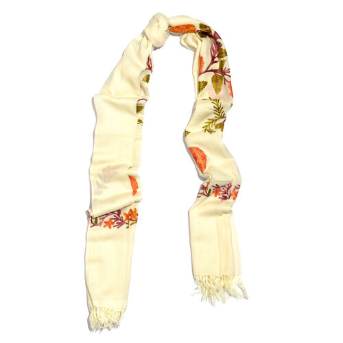 100% Merino Wool Cream, Orange and Multi Colour Floral and Leaves Embroidered Scarf with Tassels (Size 190X70 Cm)