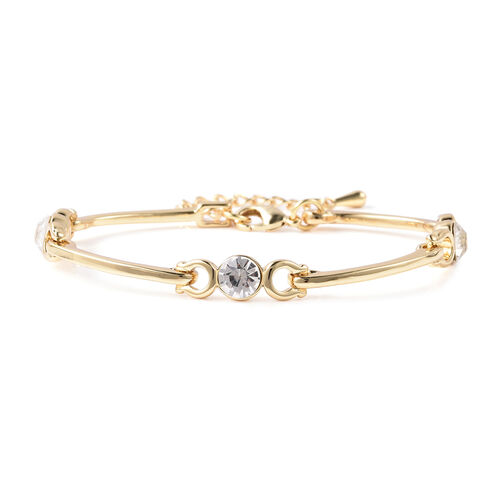 White Austrian Crystal Adjustable Bracelet (Size 7-8) in Yellow Gold Tone