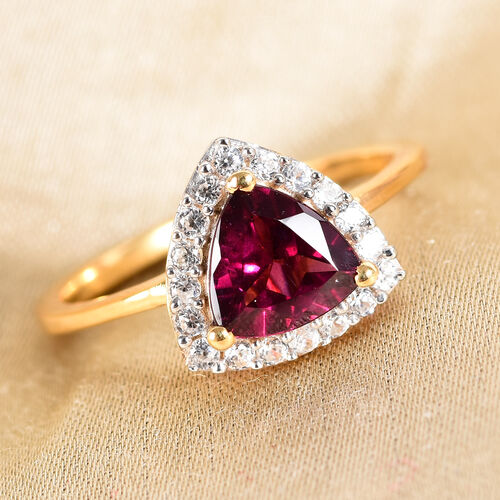 AA Rhodolite Garnet and Natural Cambodian Zircon Ring in 14K Gold Overlay Sterling Silver 1.75 Ct.