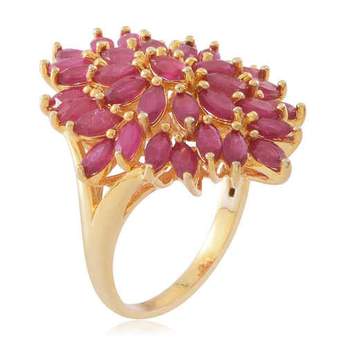 African Ruby (Mrq) Floral Ring in 14K Gold Overlay Sterling Silver 4.500 Ct. Silver wt 7.65 Gms.