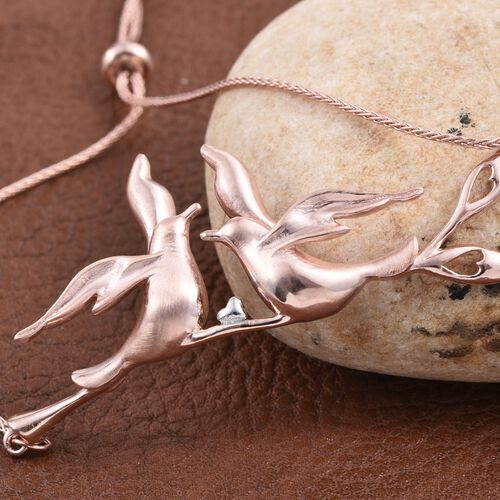 Kimberley Come Fly With Me Collection Rose Gold and Platinum Overlay Sterling Silver Adjustable Bracelet (Size 7.5), Silver wt 9.90 Gms.