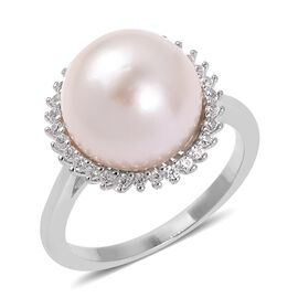 Edison Pearl (Rnd 12-13 mm), Natural Cambodian White Zircon Ring in Rhodium Overlay Sterling Silver
