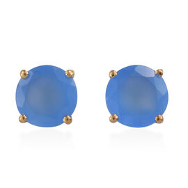 Namibian Blue Chalcedony (Rnd) Earrings (with Push Back) in 14K Gold Overlay Sterling Silver 3.250 Ct.