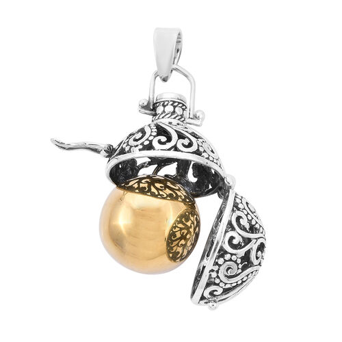 Royal Bali Collection - Ethiopian Welo Opal Harmony Ball Pendant in Yellow Gold Overlay Sterling Silver, Silver wt. 9.70 Gms