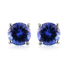 WEBEX RHAPSODY 950 Platinum AAAA Tanzanite Stud Earrings (with Screw Back) 2.50 Ct.