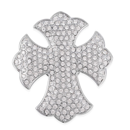 White Austrian Crystal (Rnd) Fleur De Lis Cross Brooch in Silver Tone