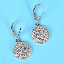 J Francis - Platinum Overlay Sterling Silver Drop Lever Back Earrings Made with SWAROVSKI ZIRCONIA 3.93 Ct.