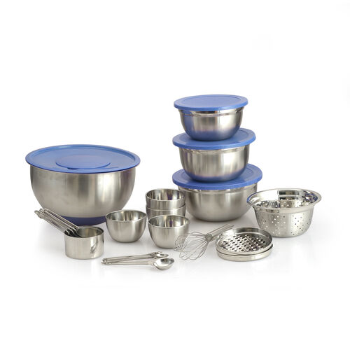 25 Pcs. Stainless Steel Kitchen Set - 1 Splash Bowl, 3 Graters, 3 Mixing Bowls with 4 Blue Lids, 4 S