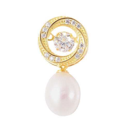 Freshwater White Pearl and Simulated Diamond Drop Pendant in Yellow Gold Overlay Sterling Silver