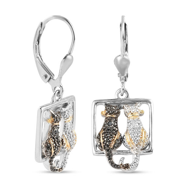 Black and White Diamond (Rnd) Twin Cat Lever Back Earrings in Platinum Overlay Sterling Silver with Black and Yellow Gold Plating