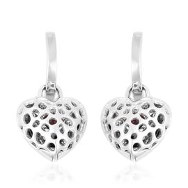 RACHEL GALLEY 0.65 Ct Rhodolite Garnet Lattice Heart Drop Earrings in Sterling Silver 10.13 Grams