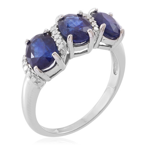 Limited Edition- Designer Inspired- Masoala Sapphire (Ovl 8X6 mm) Trilogy Ring in Rhodium Plated Sterling Silver 5.500 Ct.