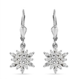 Natural Cambodian Zircon Snowflake Lever Back Earrings in Platinum Overlay Sterling Silver