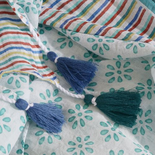 Designer Inspired - 100% Cotton Teal, White and Multi Colour Printed Scarf with Tassels (Size 200x180 Cm)