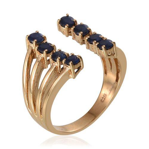 Kanchanaburi Blue Sapphire (Rnd) Ring in 14K Gold Overlay Sterling Silver 1.500 Ct.