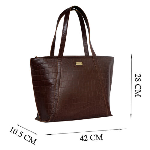 Assots London AGNES Croc Embossed Genuine Leather Tote Bag with Zipper Closure (Size 33x11x26) - Brown