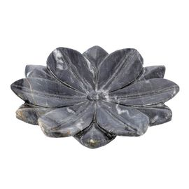 NAKKASHI Hand Carved Lotus-Design Marble Bird Feeder/Bath Bowl - Grey
