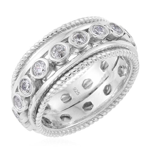 J Francis - Platinum Overlay Sterling Silver (Rnd) Full Eternity Band Ring Made with SWAROVSKI ZIRCONIA.Silver Wt 10.01 Gms
