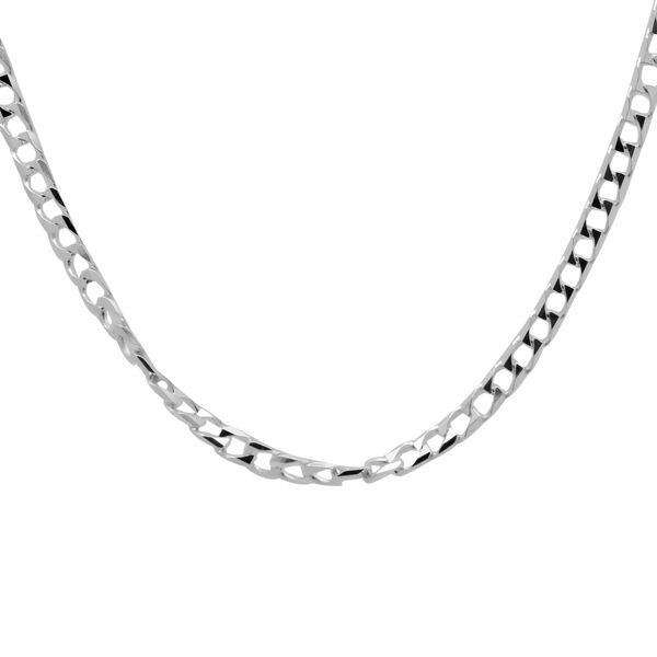 JCK Vegas Collection Diamond Cut Square Curb 20 Inch Chain in Sterling Silver