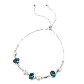 J Francis Blue Swarovski Zirconia and Crystal Adjustable Bracelet in Rhodium Plated Sterling Silver
