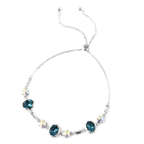 J Francis Blue Swarovski Zirconia and Crystal Adjustable Bracelet in Rhodium Plated Sterling Silver