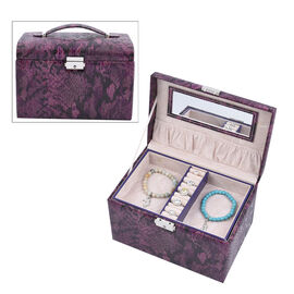 Three Layer Snake Skin Pattern Jewellery Box with Velvet Inner Lining (Size 23x15x15 Cm) - Purple