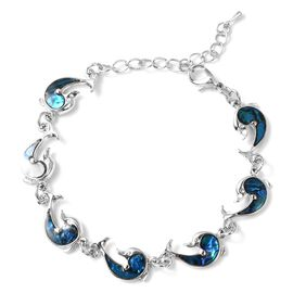 Abalone Shell Dolphine Bracelet (Size 6.5 with 2 inch Extender) in Silver Tone