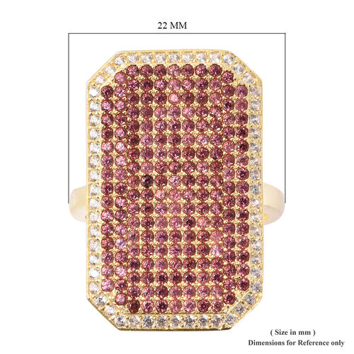 Rhodolite Garnet (Rnd), Natural White Cambodian Zircon Ring in Yellow Gold Overlay Sterling Silver 2.46 Ct, Silver wt 7.16 Gms, Number of Gemstone 246