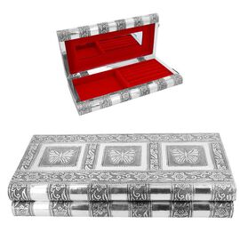 Butterfly Embossed Jewellery Storage Box with Red Velvet Lining (Size 27x13x5 Cm)