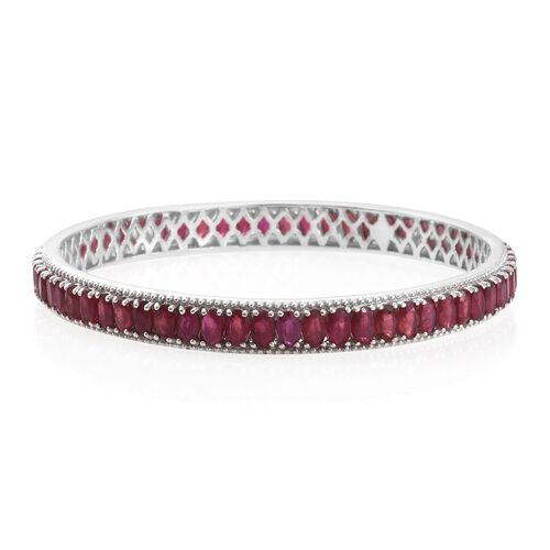 Designer Inspired- African Ruby (Ovl) Bangle (Size 7 / Medium) in Platinum Overlay Sterling Silver 2