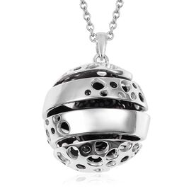 RACHEL GALLEY 19.14 Ct Boi Ploi Black Spinel Globe Pendant with Chain in Sterling Silver 17.45 Grams