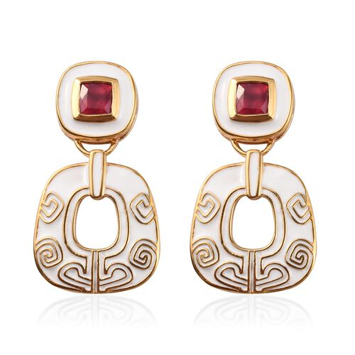 African Ruby Dangle Enamelled Earrings (with Push Back) in 14K Gold Overlay Sterling Silver 1.75 Ct.