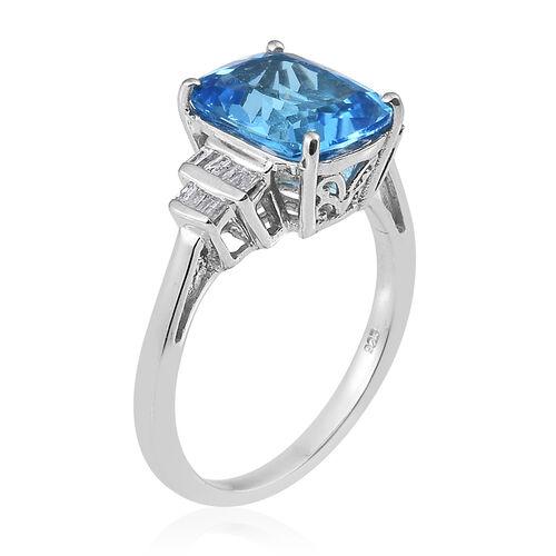 TJC Launch - Marambaia Topaz (Cush), Diamond Ring in Platinum Overlay Sterling Silver 7.000 Ct.