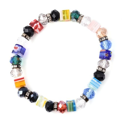 Simulated Multi Colour Gemstone, White Austrian Crystal and Multi Colour Murano Grass Stretchable Beads Bracelet (Size 6.5) in Silver Tone