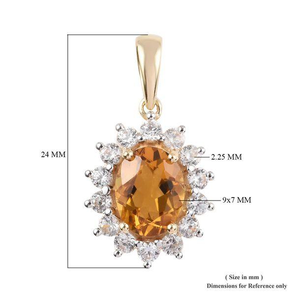 9K Yellow Gold AA Citrine (1.65 Ct), Natural Cambodian Zircon Pendant 2.65 Ct.