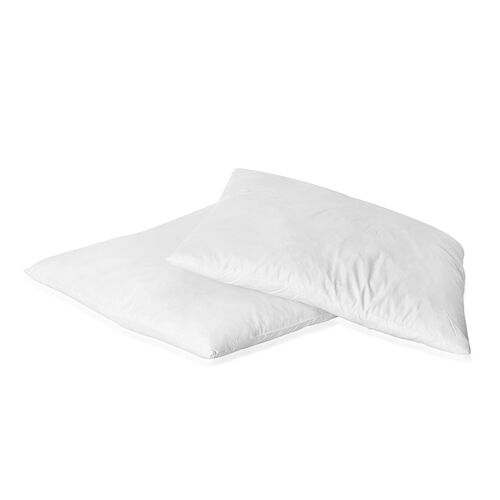 Set of 2 - White Feather Cushion with 100% Cotton Cover (Size 45x45 Cm)