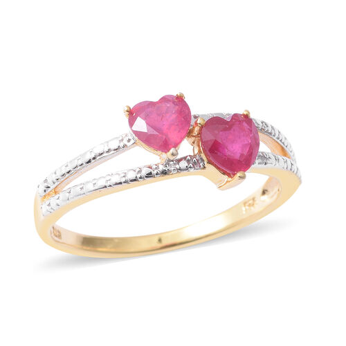 African Ruby (Hrt) Ring in Rhodium and Yellow Gold Overlay Sterling Silver 1.200 Ct.