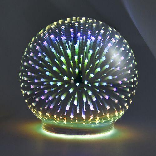 Home Decor Silver Colour 3D Glass Multicolour LED Lamp Size 12x12 Cm
