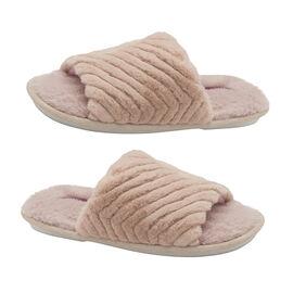 Dunlop Phoebe Ladies Memory Foam Faux Fur Lined Slip On Mule Slippers