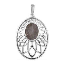 Meteorite Floral Pendant in Platinum Overlay Sterling Silver 7.00 Ct.