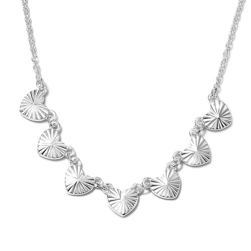 Station Hearts Necklace in Sterling Silver 18 Inch