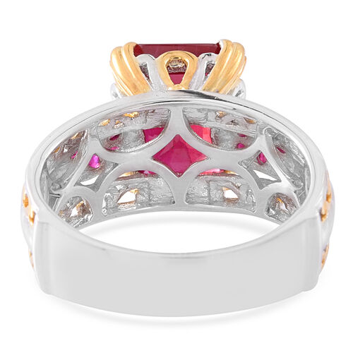 African Ruby (Oct), Burmese Ruby Ring in Rhodium and 14K Gold Overlay Sterling Silver 10.500 Ct. Silver wt 6.50 Gms.
