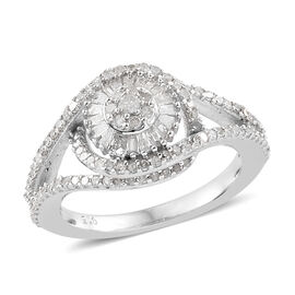 Diamond (Rnd) Floral Ring (Size V) in Platinum Overlay Sterling Silver 0.750 Ct., Number Of Diamond 136