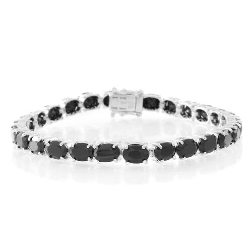 Boi Ploi Black Spinel (Ovl) Tennis Bracelet (Size 7) in Rhodium Plated Sterling Silver 26.000 Ct. Silver wt. 8.90 Gms.