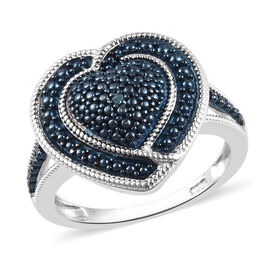 Designer Inspired - Blue Diamond (Rnd) Heart Ring in Platinum and Blue Overlay Sterling Silver, Silv