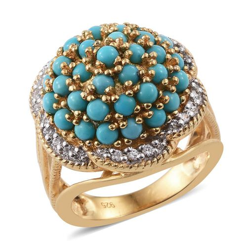 AA Arizona Sleeping Beauty Turquoise (Rnd), Natural Cambodian Zircon Ring in 14K Gold Overlay Sterli