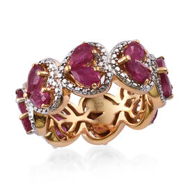 4.75 Ct African Ruby Heart Ring in Platinum and Gold Plated Silver 5 Grams